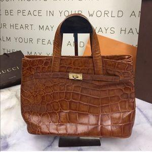 Vintage Croc Embossed Cognac Leather Satchel Purse
